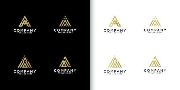 Colección de logotipos de letra a de monograma colorido moderno para empresa