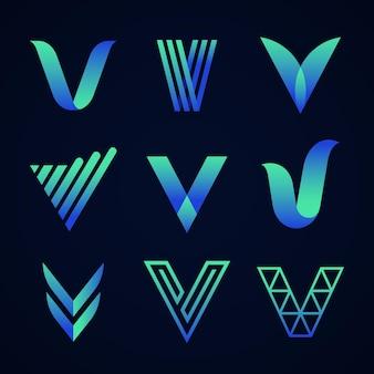 Colección de logotipos de letra v en inglés