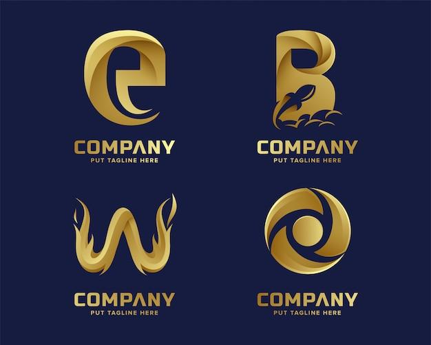 Colección de logotipos de letras iniciales doradas