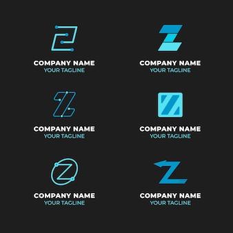 Colección de logotipos de letras z de diseño plano