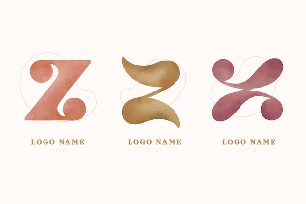 Colección de logotipos de letras #z pintados a mano