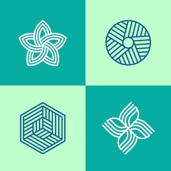 Colección de logotipos lineales abstractos