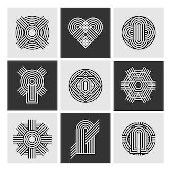 Colección de logotipos lineales de diseño abstracto