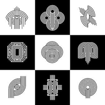 Colección de logotipos lineales de estilo abstracto