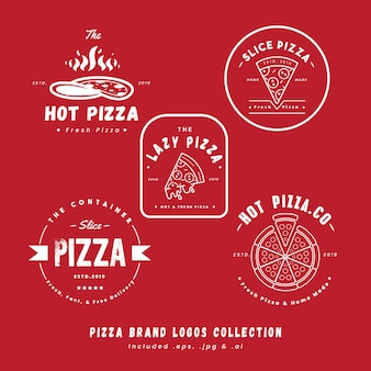 Colección de logotipos de la marca de pizza