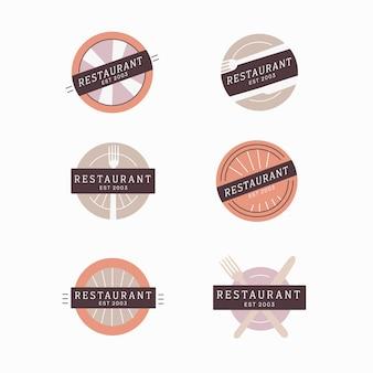 Colección de logotipos de marcas vintage de restaurantes