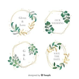 Colección de logotipos de marco de boda acuarela