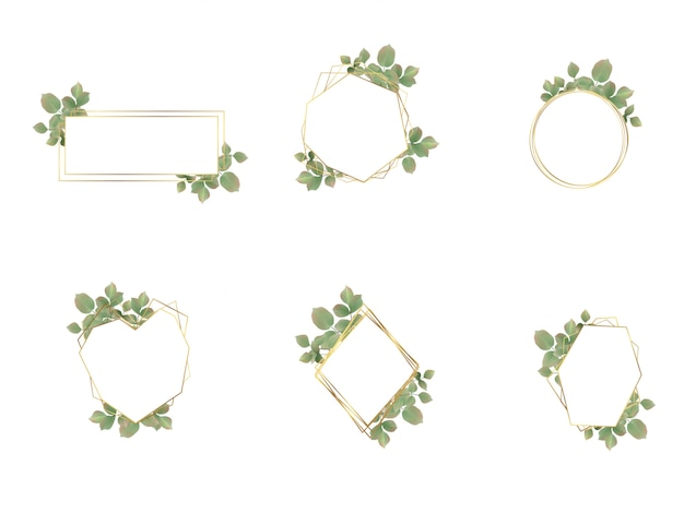 Colección de logotipos de marco de boda de acuarela