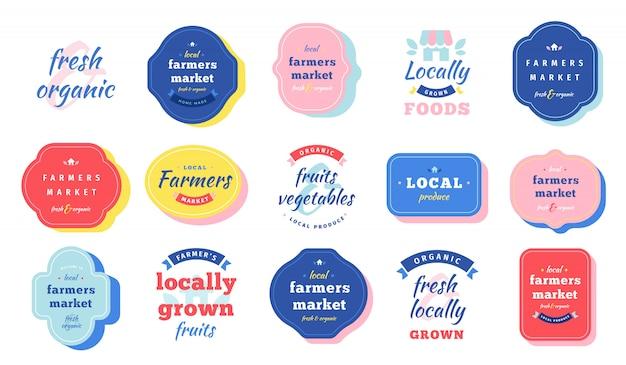 Colección de logotipos del mercado de agricultores, etiquetas coloridas