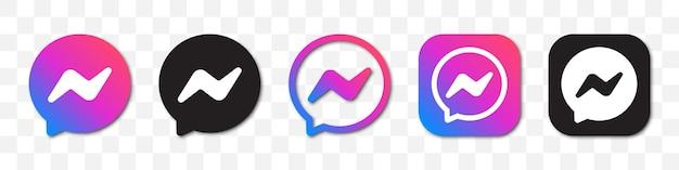 Colección de logotipos de messenger. conjunto de diferentes iconos de messenger