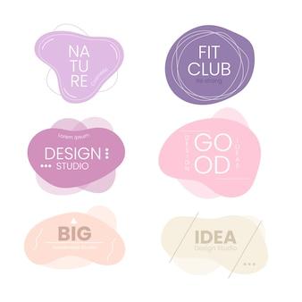 Colección de logotipos minimalistas en colores pastel