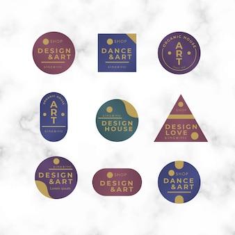 Colección de logotipos minimalistas coloridos sobre fondo de mármol