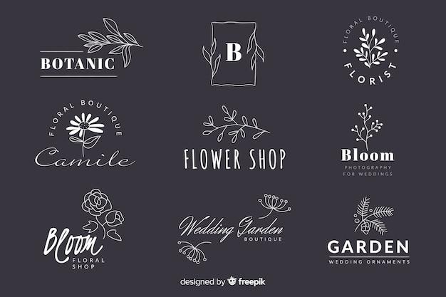 Colección de logotipos minimalistas de floristería para bodas