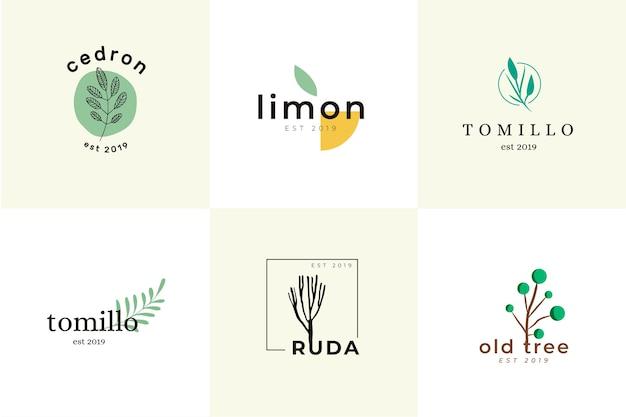 Colección de logotipos minimalistas de negocios naturales