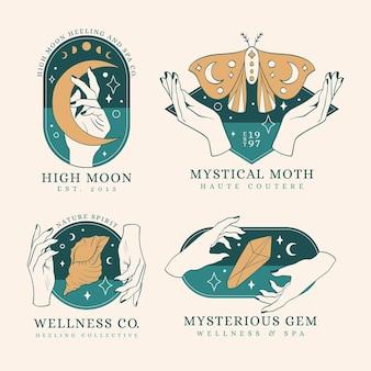 Colección de logotipos místicos de arte lineal