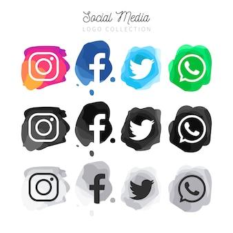 Colección de logotipos modernos de redes sociales de acuarela