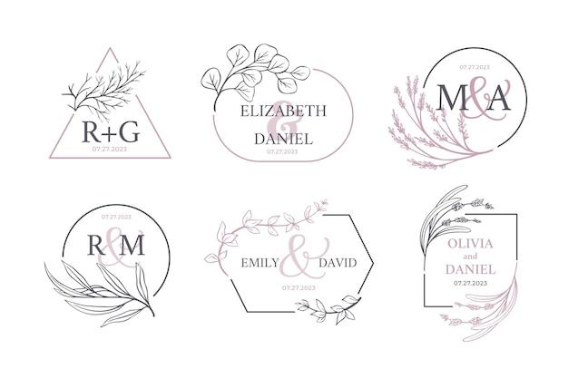 Colección de logotipos de monogramas de boda caligráficos