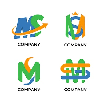 Colección de logotipos de ms de diseño plano
