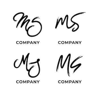 Colección de logotipos ms pintados a mano