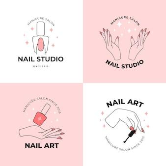Colección de logotipos de nail art studio