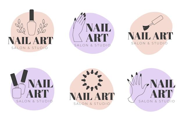 Colección de logotipos de nails art studio