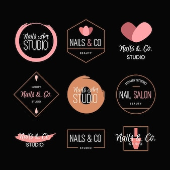 Colección de logotipos de nails art studio