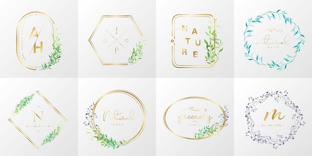 Colección de logotipos naturales y orgánicos para branding, identidad corporativa. marco dorado con flores en estilo acuarela