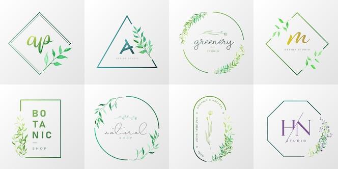 Colección de logotipos naturales y orgánicos para branding, identidad corporativa, packaging y tarjeta de visita.