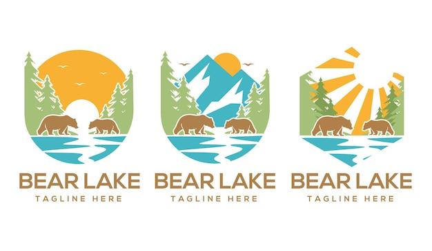 Colección de logotipos de la naturaleza del lago del oso
