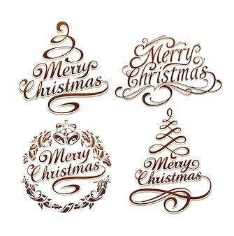 Colección de logotipos de navidad
