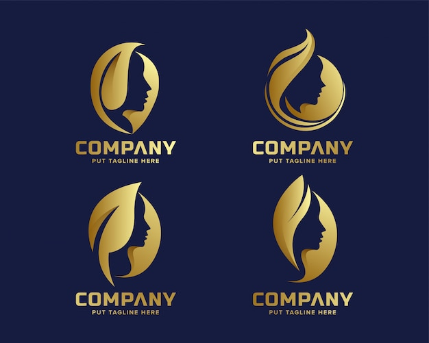 Colección de logotipos de negocios creativos golden beauty spa cosmetics