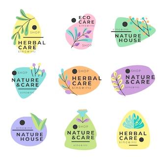 Colección de logotipos de negocios naturales de estilo minimalista