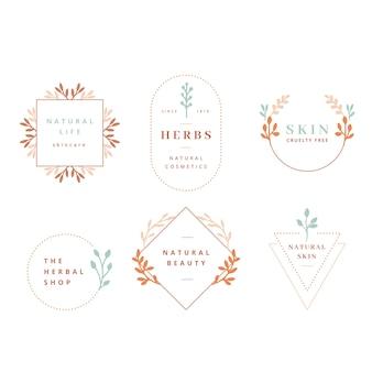 Colección de logotipos de negocios naturales en estilo minimalista