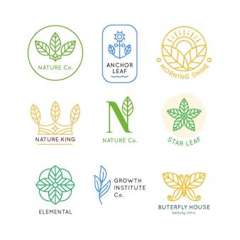 Colección de logotipos de negocios naturales mínimos