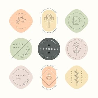 Colección de logotipos de negocios naturales