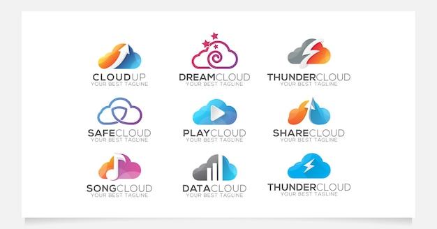 Colección de logotipos en la nube para empresa o agencia