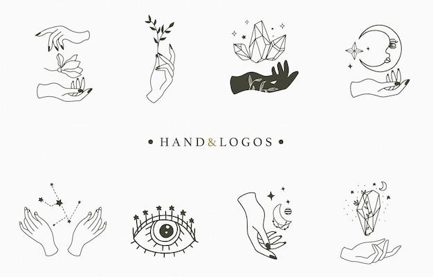 Colección de logotipos ocultistas de belleza