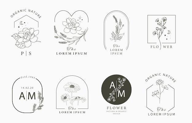 Colección de logotipos ocultos de belleza con geometría, magnolia, lavanda, luna, estrella, flor.