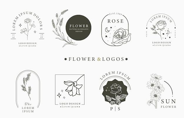 Colección de logotipos ocultos de belleza con geometría, rosa, luna, estrella, flor.