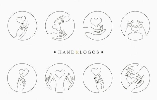 Colección de logotipos ocultos de belleza con mano, corazón