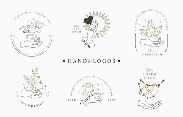 Colección de logotipos ocultos de belleza con mano, geométrica, cristal, luna, rosa. ilustración para icono, logotipo, etiqueta, imprimible y tatuaje
