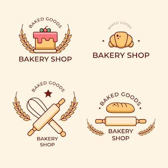 Colección de logotipos de pasteles de panadería