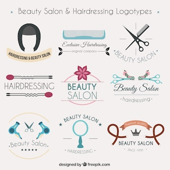 Colección de logotipos de peluquería
