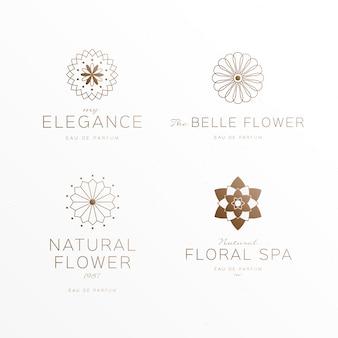 Colección de logotipos de perfumes florales de lujo