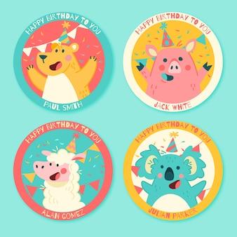 Colección de logotipos de personajes de cumpleaños