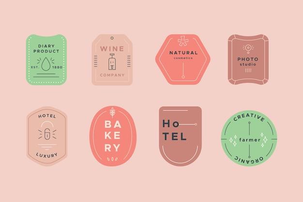 Colección de logotipos con plantilla de colores pastel