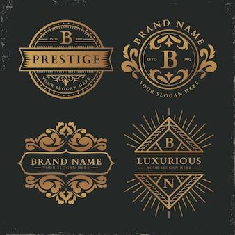Colección de logotipos de plantilla retro de lujo
