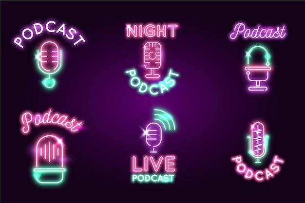 Colección de logotipos de podcast de luces de neón