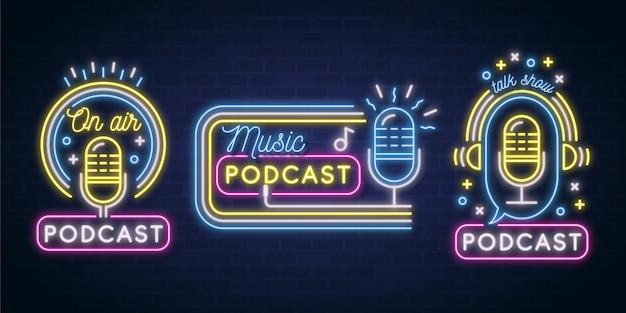 Colección de logotipos de podcast de neón