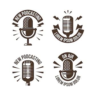 Colección de logotipos de podcasts vintage